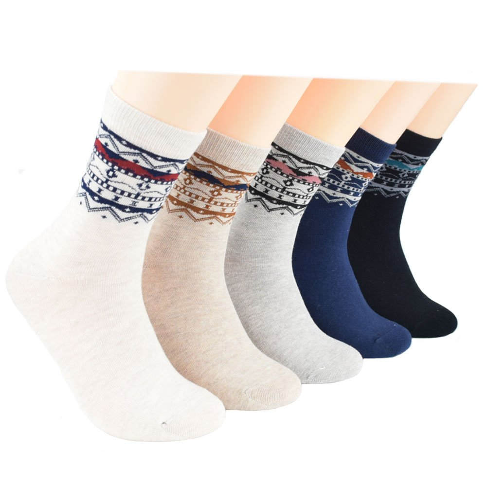 Ziye Shop 5 Pairs Casual Socks Vintage Cotton Dress Socks for Men