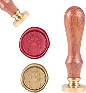 CRASPIRE Dog Paw Wax Seal Stamp, Vintage Wax Sealing Stamps Puppy Pow Retro Wood Stamp Removable Brass Head 25mm for Wedding Envelopes Invitations Embellishment Bottle Decoration Gift Packing