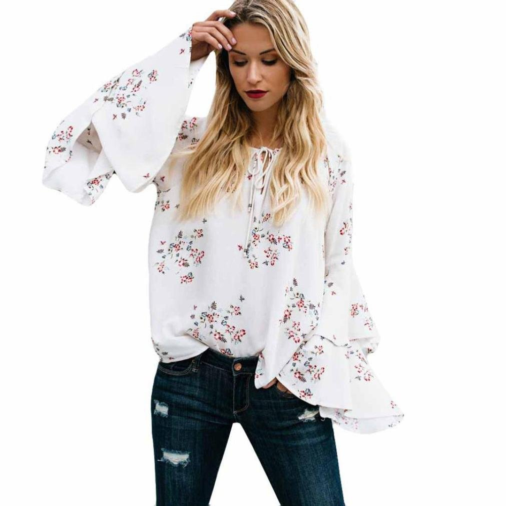 Amazon.com: SMALLE ◕‿◕ Clearance,Womens Long Sleeve Fashion Print Pagoda Sleeve T-Shirt Blouse Tank Tops: Clothing