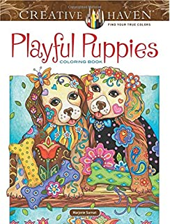 Creative Haven Playful Puppies Coloring Book Adult