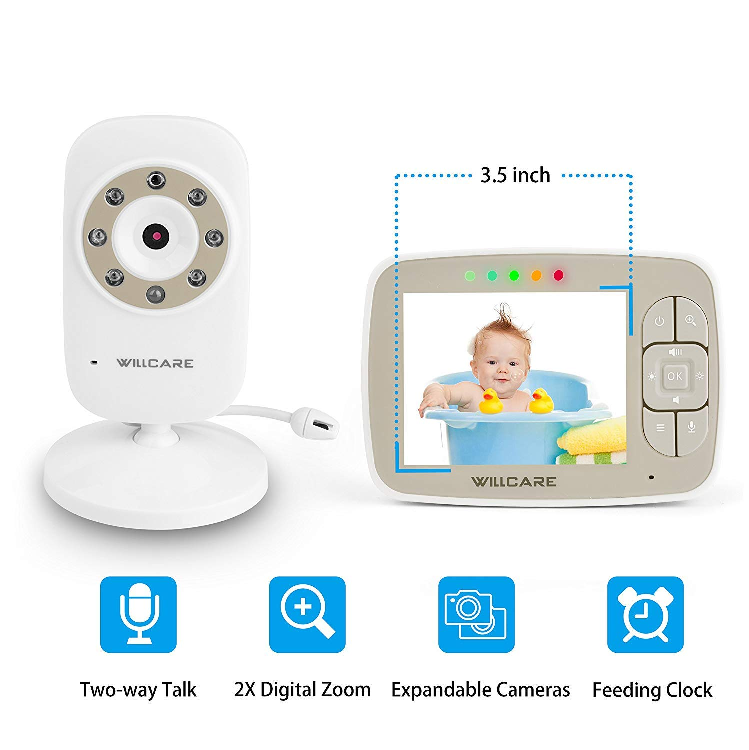 Baby Monitor -Video Baby Monitor with 3.5 LCD Screen, Digital Camera, Infrared Night Vision, Two-Way Talk Back, Lullabies, Temperature Monitoring, Long Range Baby Monitors with Camera and Audio