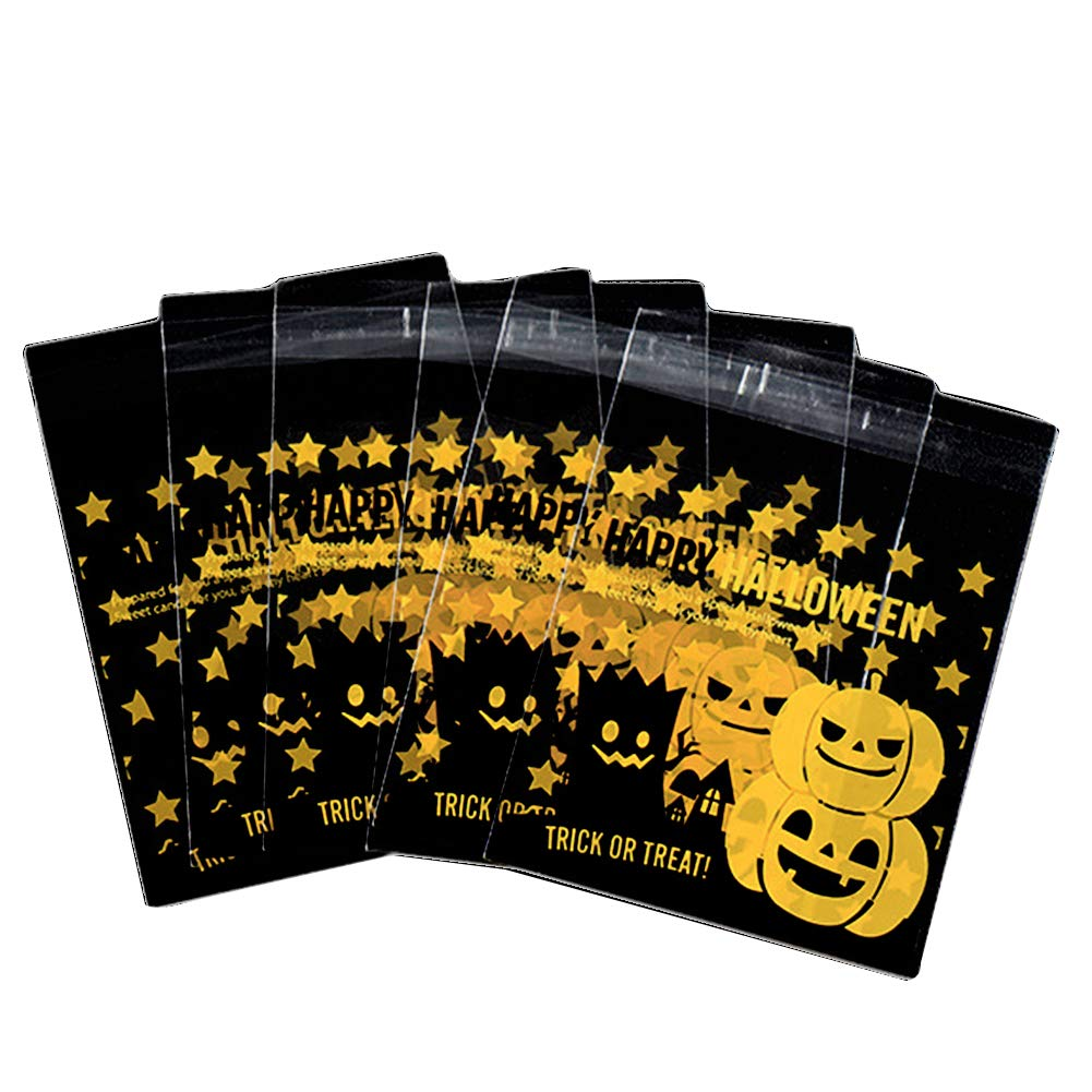 Bolsas autoadhesivas para caramelos de Halloween de Cosanter, con diseño de calabaza, bolsas de celofán; 100 unidades, plástico, Style 3, 10 x 13 CM