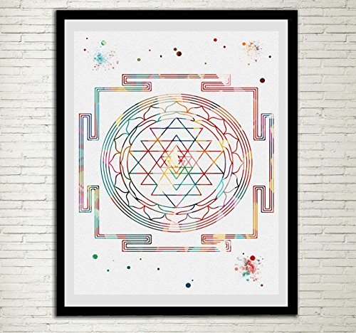 Sri Yantra Watercolor Print Modern Home Decor Magid Diagram Symbol Hindu Wall Decor Esoteric Wall Hanging Srichakra