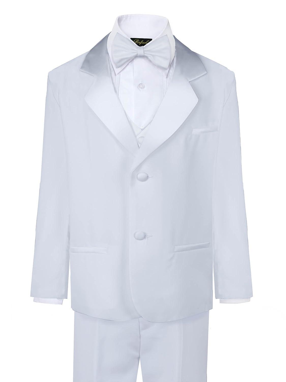 Rafael Boys Tuxedo with Vest, Shirt, and Bow Tie - Black Or White
