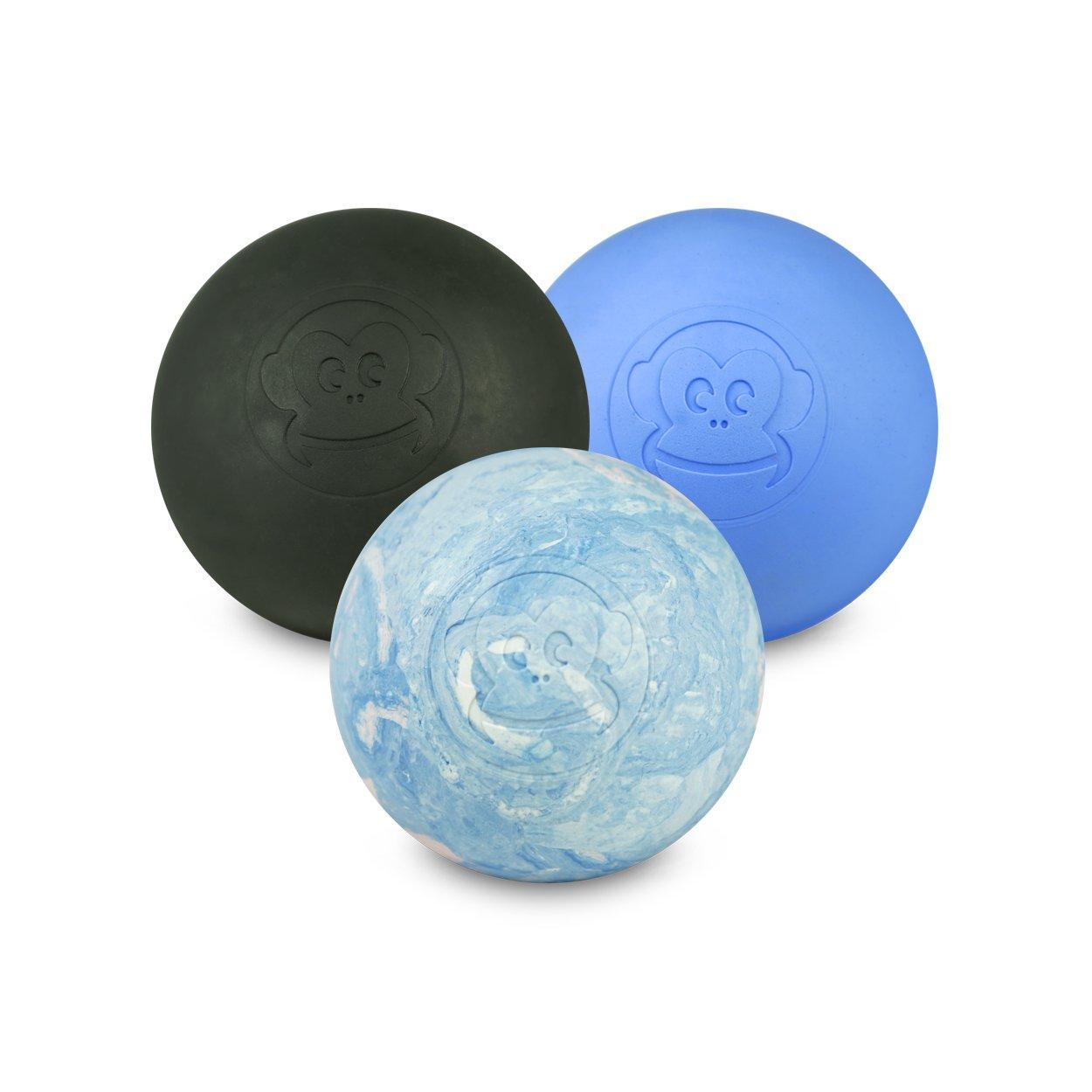 Captain LAX Massageball Original - Lacrosseball im 3er Pack in Schwarz, Blau, Weiß/Pink/Hellblau, aus Hartgummi, Größe einzeln 6 x 6 cm geeignet für Triggerpunkt- & Faszienmassage/Crossfit Weiß/Pink/Hellblau