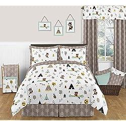 Sweet Jojo Designs 3-Piece Outdoor Adventure Nature Fox Bear Animals Boys Full/Queen Bedding Set