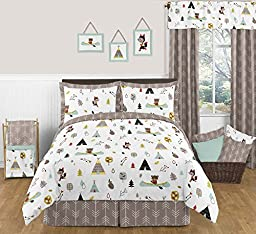 Sweet Jojo Designs Set of 3 One Size Fits Most Basket Liners for Outdoor Adventure Nature Fox Bear Animals Bedding Sets