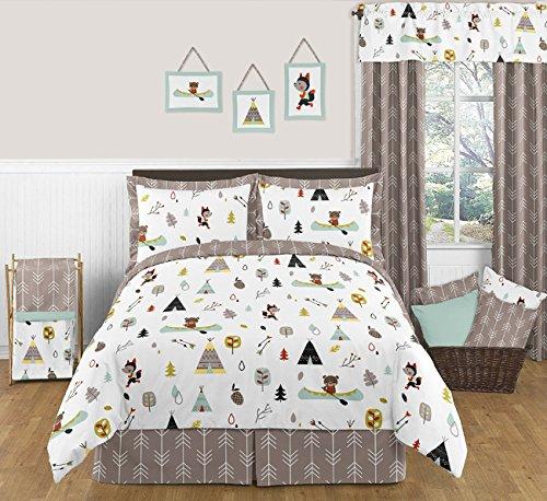 - Sweet Jojo Designs 3-Piece Outdoor Adventure Nature Fox Bear Animals Boys Full/Queen Bedding Set