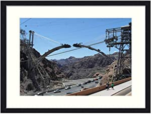 Asommet Hoover Dam Bridge - Solid Wood Framed Wall Art Print Picture Home Decor (20x14 inches)