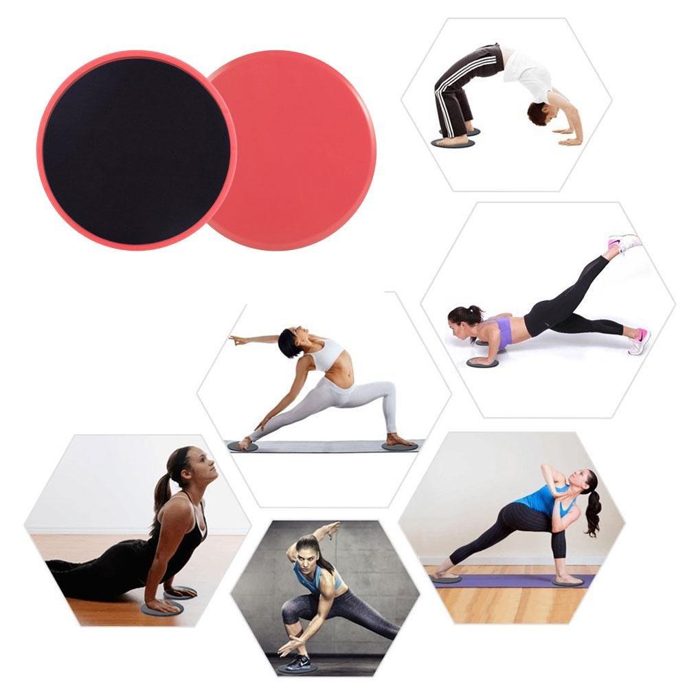 Pawaca double face curseurs de Core, et ornée de capacité d'entraînement pour club de gym, Home abdominale et Total Body équipement d'entraînement, 2pcs Red
