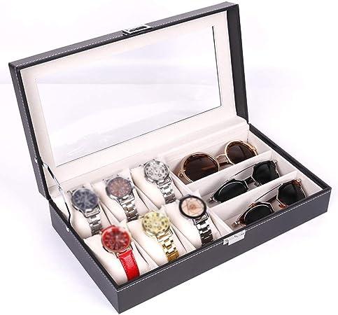 QXTT Caja para 6 Relojes Y 3 Gafas Estuche PU Organizador De Cuero para Anillos Collares Pulseras Pendientes: Amazon.es: Hogar