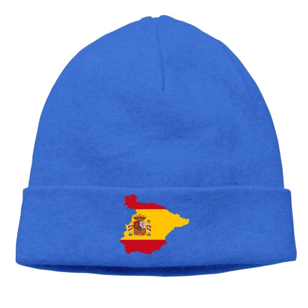 XLABDZ Thick Woolen Cap Men Women, Spain Map Stocking Cap Hip Hop Fashion Beanie Hat