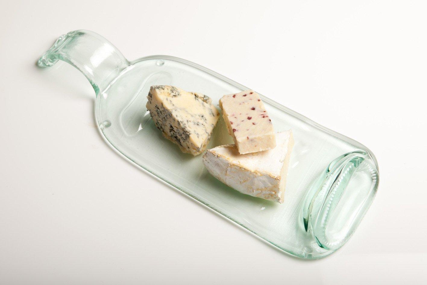 Vassoio per formaggio, riciclato trasparente (singola), in confezione regalo, a partire da bottiglie in vetro, fatto a mano Glass ReFORM