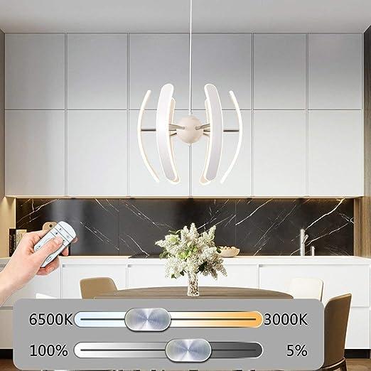 lámpara Moderno Regulador LED lámpara Colgante Construcción Curva de metal altura regulable restaurante Interior cocina 55 W: Amazon.es: Iluminación