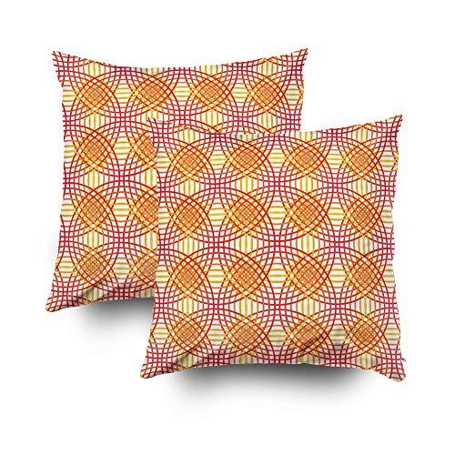GROOTEY Decorative Cotton Square Set of 2 Pillow Case Covers Zippered Closing Home Sofa Decor Size 20X20Inch Costom Pillowcse Throw Cover Cushion,Lines intersection optical blending Red ()