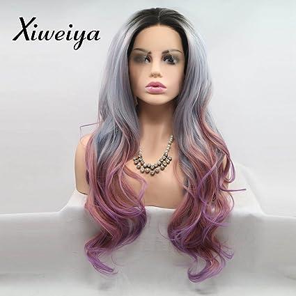 Xiweiya Peluca de mezcla de color gris oscuro a rojo, peluca sintética de sirena,