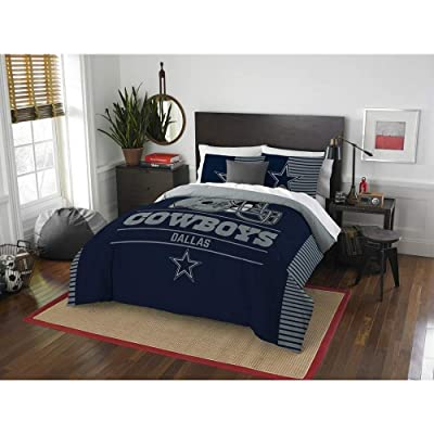 3 Piece Dallas Cowboys Draft Navy Blue Comforter Set Queen/Full Football Themed Sports Motif Collegiate Patterned Boy Bedding Set All Season Border Zebra Design Athletic Unisex Team Logo Reverse Shams: Home & Kitchen