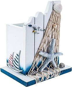 Artibetter 1pcs Wooden Pen Holder Pen Container Maritime Pen Organizer Nautical Desk Decoration Makeup Brush Holder for Home Office (White)