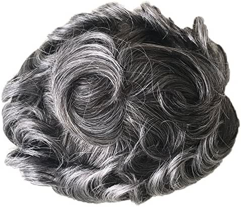 PANCY 1b50 Gray Hair Men's Toupee Durable Fine Mono With Poly Thin Skin Toupee Hair Replacement Hair System Human Hair Pieces for Men Father Gift