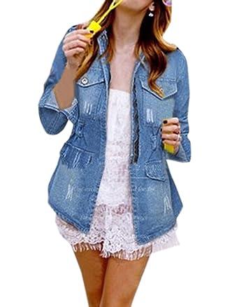 Simple-Fashion Freizeit Langarm Jeansjacke Oberteile Mantel Frühling und  Herbst Damen Vintage Denim Jacket Fashions 6c90246914