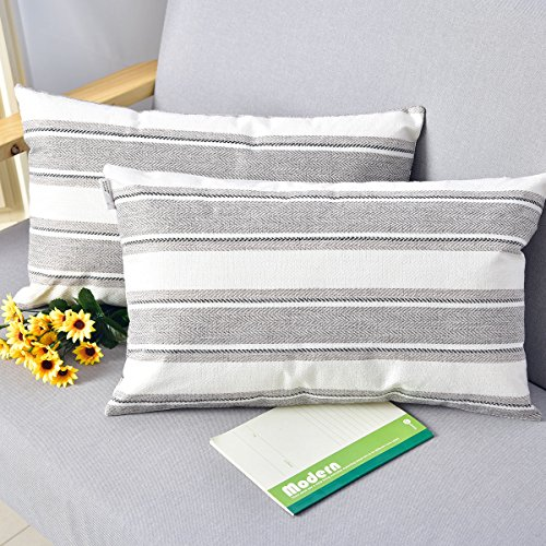 - NATUS WEAVER Multi Color Stripe Decorative Linen Oblong Throw Pillow Cases Cushion Covers Soft Linen Textured for Bedroom, 12