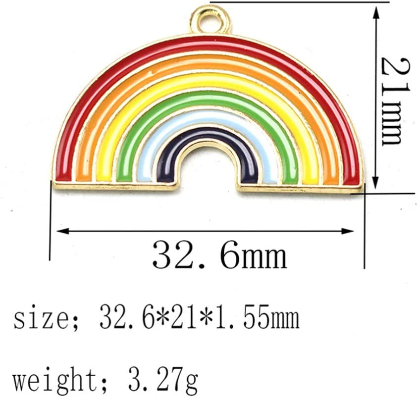 FENICAL 10pcs Christmas Charm Pendant Rainbow Crafting Accessories for Necklace Bracelet Ankle Earring Jewelry DIY Making
