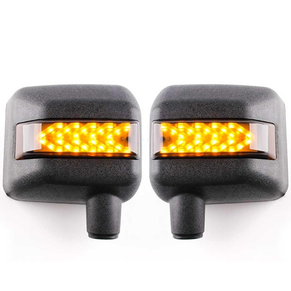 VOSICKY(ボスキー) 最新版 ジープ jkラングラー サイドミラー ハウジング ブラケット(ミラーレス) LEDライト機能 ウィンカー矢印が付き 白いイカリング 黄いウインカー 低消費電力 取り付け簡単 高輝度 防水 2007~2017年モデル 対応 2個セット 送料無料 一年保証付き B07C8QM5HJ 矢印ウィンカー