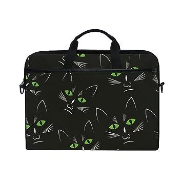 1a33d5b6e3 Amazon.com: Laptop Bag for Men Women Black Cat Head Lighweight Canvas Shoulder  Messenger Bag for 14-15 Notebook: Computers & Accessories