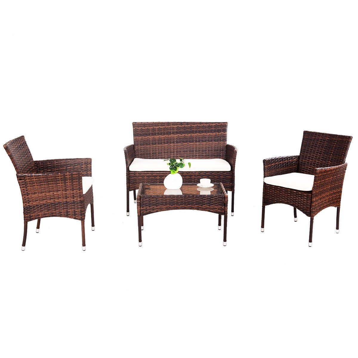 EnjoyShop 4 Pcs PE Rattan Wicker Table Shelf Sofa Furniture Set with Cushion Dining Garden Picnic Outdoor by EnjoyShop (Image #8)