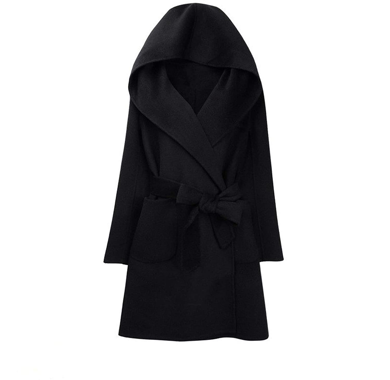 Black Casual Fashion Women Long Cashmer Coat Long Solid Women's Woolen Jacket Hooded Coat and Jacket