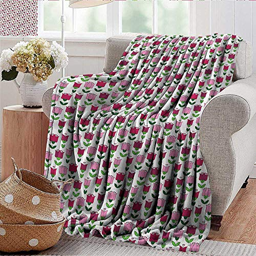 Xaviera Doherty Weighted Blanket for Kids Tulip,Vintage Flora Bouquet Antique Soft Summer Cooling Lightweight Bed Blanket 30