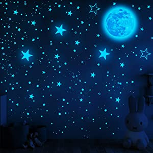 1049Pcs Glow in The Dark Stars and Moon for Ceiling, Wall Bedroom Chirldren's Room Stickers Decals Decor, Boys & Girls' Gifts (Stars and Moon of Blue Light)
