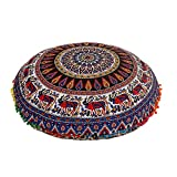 32'' Multi Color Mandala Bohemian Indian Floor Cushion Seating Boho Decorative Mandala Ottoman Poufs,Multi Pom Pom Pillow Case