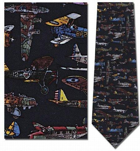 Tie Fighter Flight - Museum Artifacts WWI & II Airplanes Silk Tie Necktie Neckwear