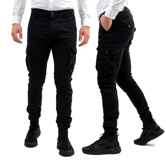 vendita outlet disponibilità nel Regno Unito più popolare Pantaloni Uomo Cargo Con Elastico Alle Caviglie Neri Slim Fit ...