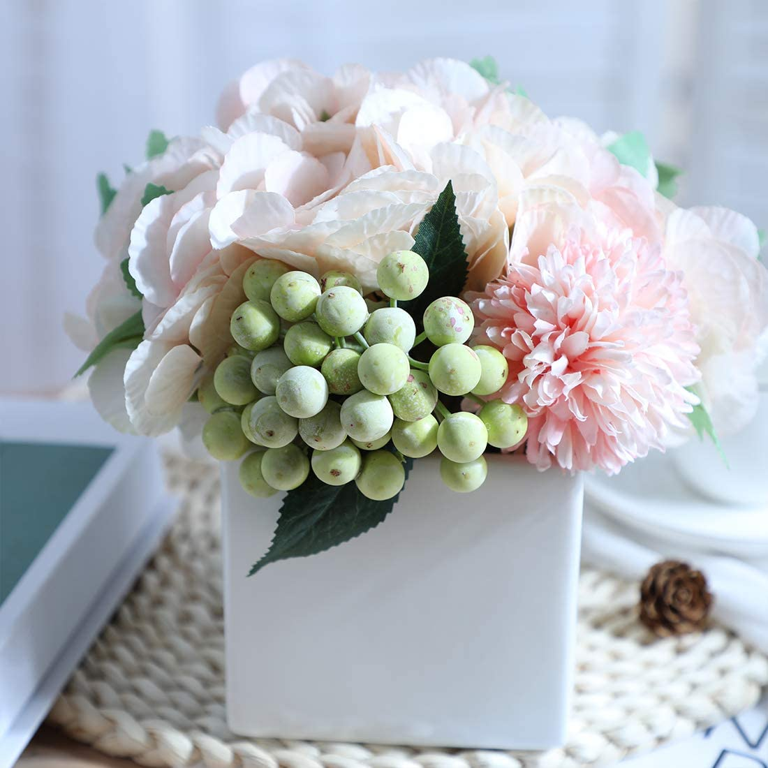 A Cup of Tea Artificial Flowers Pink Hydrangea for Wedding Decor Silk Fake Plants in White Vase, Decorative Simulation Berry for Home Indoor Living Room Bedroom Tabletop Centerpiece Decor