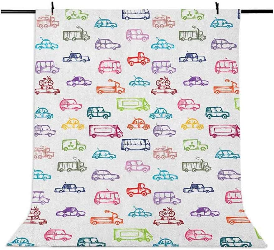 7x10 FT Cars Vinyl Photography Backdrop,Various Types of Vehicles Bus Truck Garbage Truck Sports Car Vibrant Colored Design Background for Baby Birthday Party Wedding Graduation Home Decoration