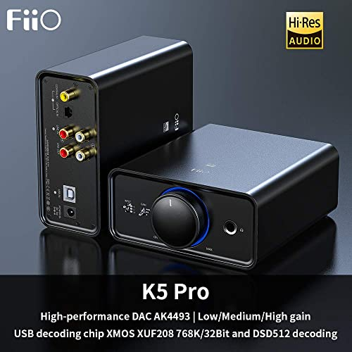 FiiO K5 Pro AK4493EQ 768K 32Bit and Native DSD 512 decoding Deskstop DAC and Amplifier for Home and Computer 6.35mm 1 4 in. Headphone Out RCA line-Out