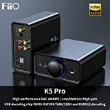 FiiO K5 Pro AK4493EQ   768K/32Bit and Native DSD 512 decoding Deskstop DAC and Amplifier for Home and Computer(6.35mm (1/4 in.) Headphone Out/RCA line-Out)