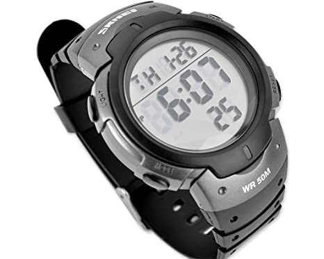 números grandes, muy fácil de leer LED Digital Reloj de pulsera para hombre Multifuncional 5ATM Impermeable Militar deportivo Relojes - gris: Amazon.es: ...