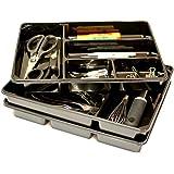 "3-PACK of Organizer Trays for Desk, Utensils, Tools, Crafts, Vanity - 15.7"" x 11.7"" x 2.0"" - Black"