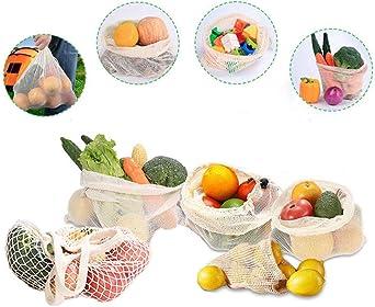 JUN-H Set di 5 Sacchetti per Frutta e Verdura Riutilizzabili in Tessuto Ecologico e Resistente in Cotone Biologico per Verdure Reti per Frutta e Pane