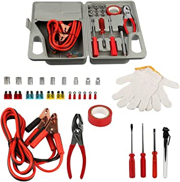 34 Piece Travel Tool Set as Safety Survival Kit with Jumper Cables Pressure Gauge Ideas In Life Car Roadside Auto Emergency Kit Work Gloves and More Screwdriver Set