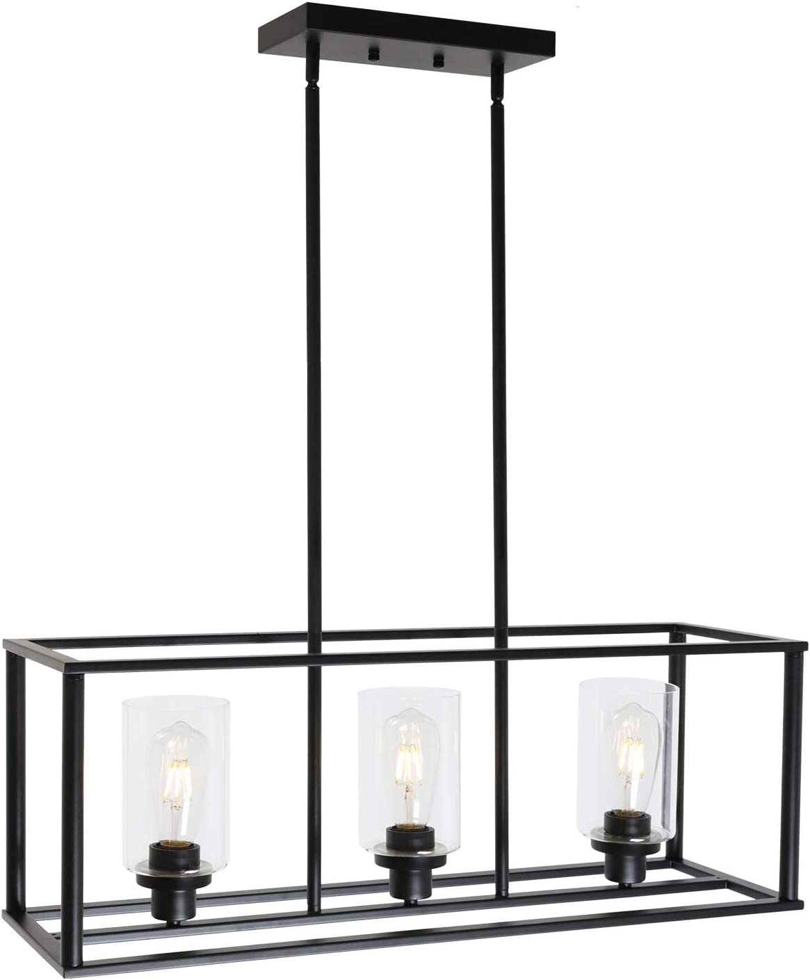 Vinluz 3 Light Kitchen Island Pendant Lighting Black Contemporary Industrial Linear Chandelier With Clear Glass Shade For Dining Room Kitchen Island Living Room Amazon Com