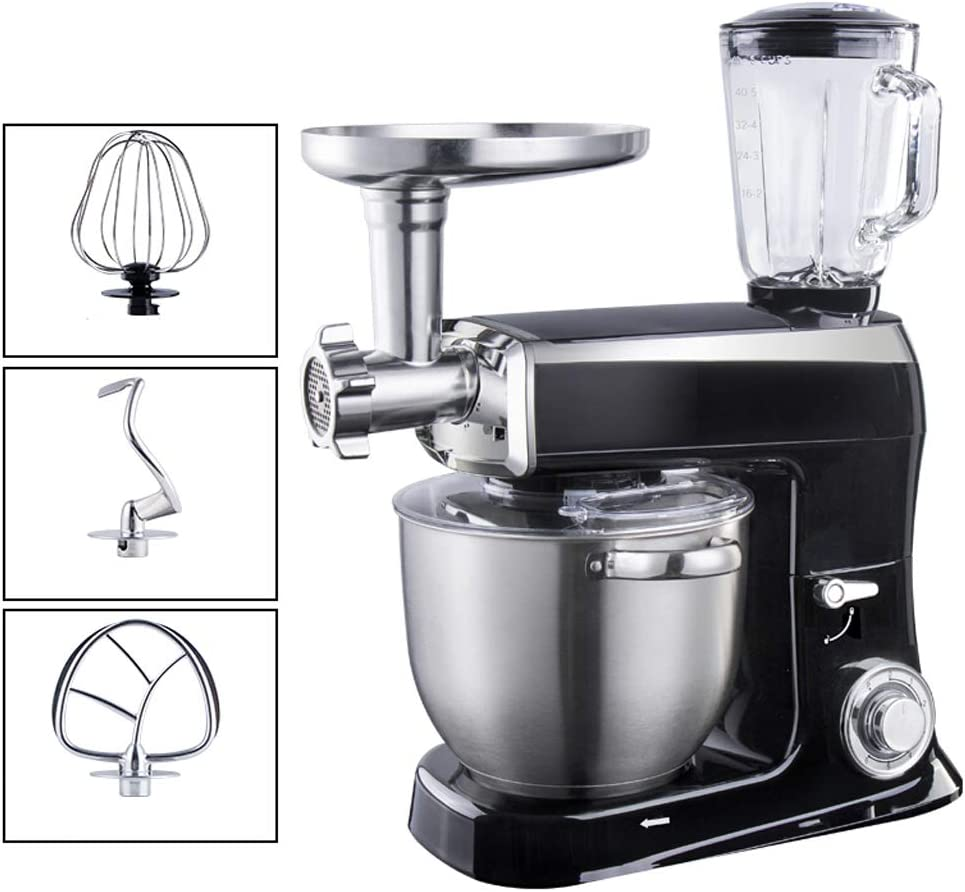 Stand Mixer, Juicing Ground Meat Beater Whisk Dough Hook 5 In1 Electric Kitchen Mixer - 7.5L 6 Gear Adjustments Head Up Design Splash Transparent Cover