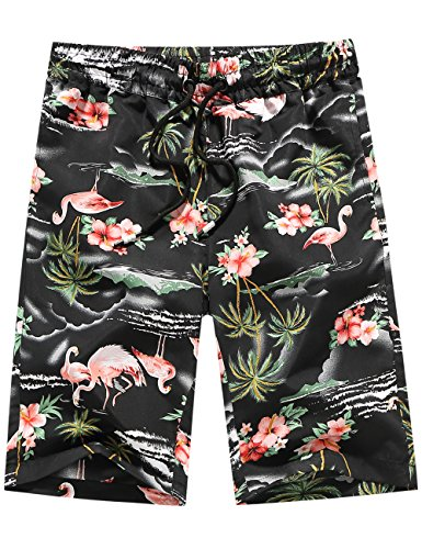 SSLR Men's Print Quick Dry Tropical Casual Hawaiian Beach Board Shorts (34, Black)