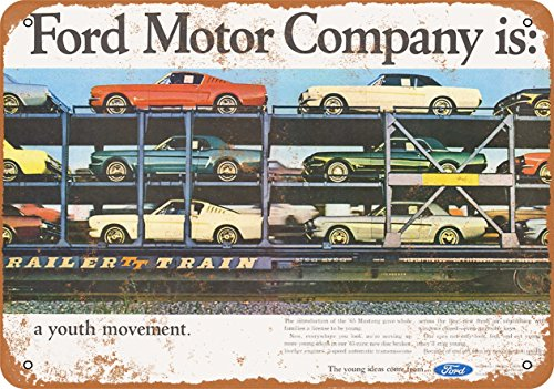 Wall-Color 9 x 12 Metal Sign - 1965 Ford Mustangs on a Train - Vintage Look