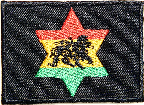 Star Rasta Rastafari Jamaica Raggae Africa Army Military Logo Biker Jacket T shirt Patch Sew Iron on Embroidered Badge (Yamaha Die Cut Decals)