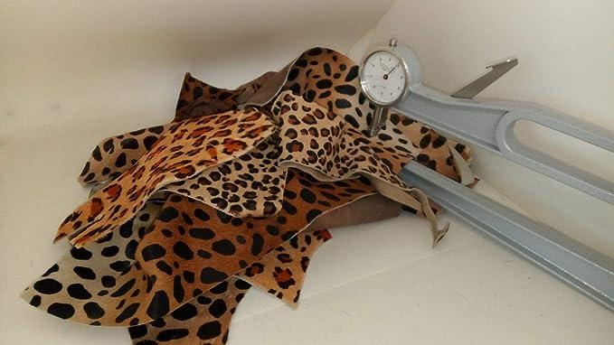 Leopard print cowhide leather medium hair on hide earrings