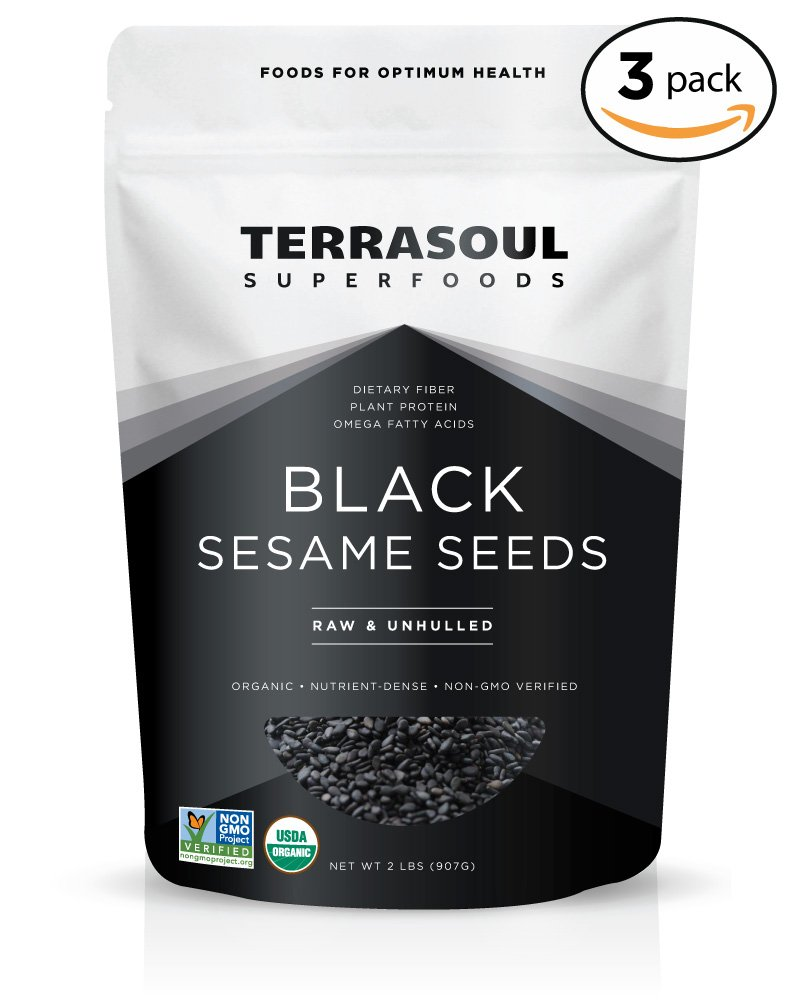 Terrasoul Superfoods Organic Black Sesame Seeds (Unhulled) - 6 Pounds
